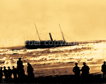 Wreck of the Steamer Corona by AF Barber - fine art photo print - Humboldt Bay Humboldt County California CA