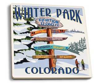 Winter Park, CO - Dest Sign - LP Artwork (Set of 4 Ceramic Coasters)