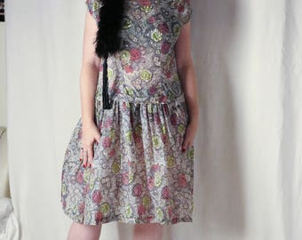 """1960s plus size collectable floral pattern print by Alcorso for Leroy sheer dress (36"""" waist)"""