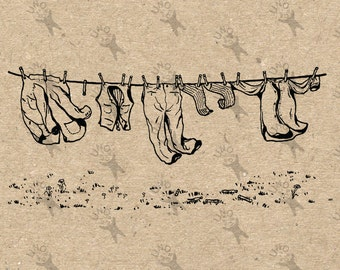 Vintage image drying Laundry Black and White Retro Drawing Instant Download Digital printable clipart graphic iron on tote towels HQ 300dpi
