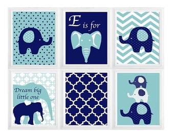 Dream Big Little One, Elephant Nursery Art Print, Your Color Choice, Toddlers Room, Boys Girls Nursery Decor Set of 6 different
