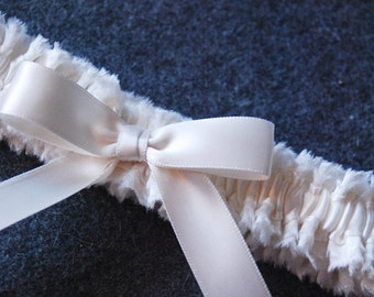 Simple Ivory Bridal Garter with Pleated Satin and Ivory Bow - Sylvia