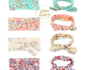 Baby Knot Headband, Floral Print Baby Headband, Bow Knot Flowers, Girls Baby Bow, Toddler Bow Headband, Shabby Chic, Fabric Knot Headband