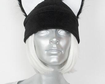 Furry Ear Black Hat