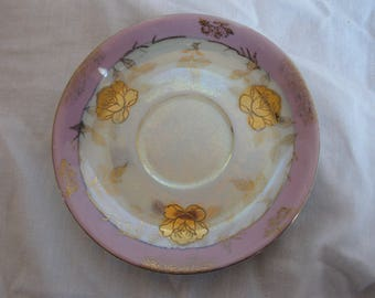 Pink edged dessert plate with gold roses, White and pink rose plate, white and pink floral plate, floral decorative plate, gold roses plate