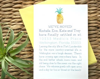 Pineapple moving announcements, change of address card, new address announcement, new home announcement, we've moved, home sweet home card