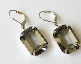 Black Diamond Crystal Earrings Swarovski Black Diamond Earrings Rhinestone Earrings Gray Drop Earrings Wedding Bridal Jewelry