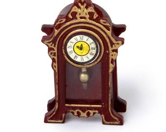 1:12 Dollhouse Miniature Wooden Classical Desk Clock Classic Toys Pretend Play Furniture Toys Doll House Decoration