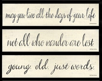 5 inspirational word quotations prints by Donna Atkins. Mix and Match. Minimalist. Words. Sayings. Quotes. Black & white. Gallery Wall.