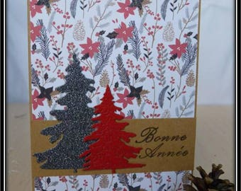 Card double greeting, kraft, dark red base and white with black and Red trees
