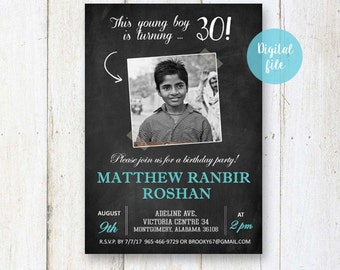 18th Birthday Invitation for boys Personalized Chalkboard