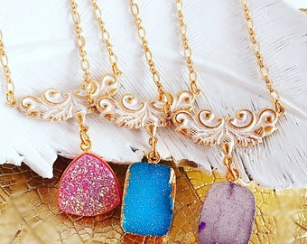 Druzy Necklace - Natural Druzy Necklace - Best Gifts for Her - ANABELLE Necklace
