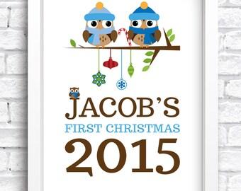 Personalised Baby Bird First Christmas Framed Print Keepsake. New Baby Print. Nursery Artwork. Word Art. FREE POSTAGE