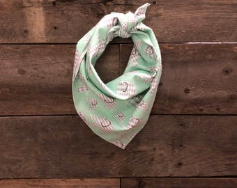 Teal & Gray Elephants Tie On Dog Bandana