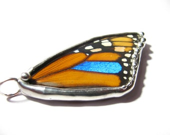 Monarch Butterfly / Butterfly Wing Jewelry / Real Monarch Blue Morpho Butterfly Pendant