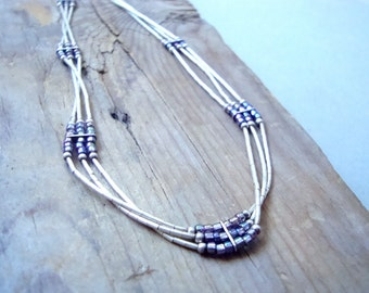 Liquid Silver Necklace Sterling Silver Purple Seed Beads Necklace Gifts Under 30 Gifts For Her Adjustable Choker Necklace Simple
