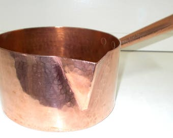 Large 20cm French Copper Sugar Pan, Antique Copper Saucepan, Artisan Made Hammered Copper Confectionery Pan 2.3mm thick  (7041