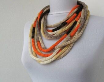 20% OFF SALE -Knit Scarf Necklace, Loop scarf, Infinity scarf, Neck warmer, Knit scarflette, in orange, brown, beige E027