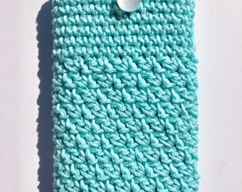 Turquoise Mint Crocheted Mobile Phone Case Sleeve with Button