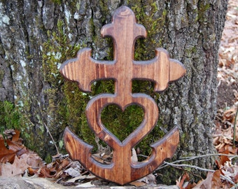 Cross Anchor Heart, Faith Hope Love, Theological Virtues, Christian, Wood, Rustic, Carved, Stained, Wall Art