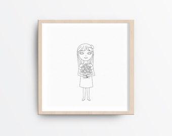 Printable nursery art, Baby girl nursery art, Nursery printable art, Printable girl and flowers illustration, Black and White Nursery Art,