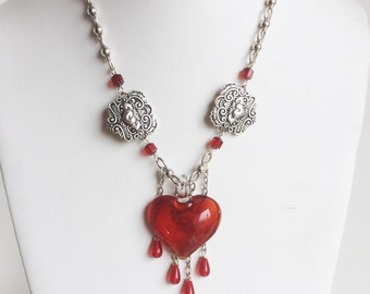 Bleeding Heart Necklace, Large Red Art Glass Pendant, Dangling Drops of Red Glass, Sterling Silver Chain, Handmade and One of a Kind