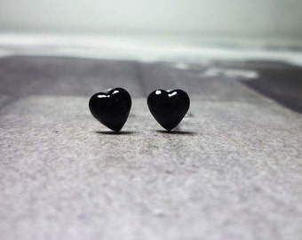Black Puffy Heart Stud Earrings, Sterling Silver Heart Earrings, Heart Stud Earrings