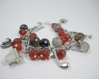 Love That Jazz Fire Agate, Carnelian Bead and Charm Bracelet, Gifts for her