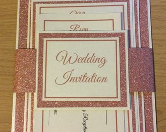 Glitter wedding Invitation with belly band