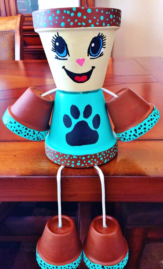 Girl or Boy Brown Turquoise Paw Print Candy Flower Dots Clay Pot Head People Terra Cotta