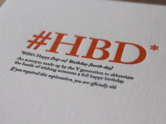 Definition: #HBD - Letterpress Flat Greeting Card / Birthday Card / Funny Card / Humour