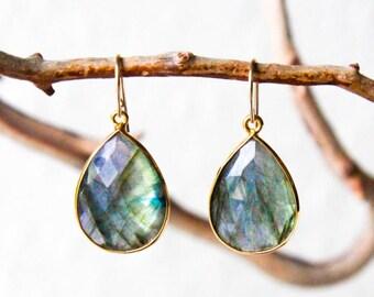 Labradorite Earrings - Labradorite Jewelry - Teardrop Earrings - Statement Earrings - Gemstone Earrings - Chakra Jewelry - Healing Jewelry