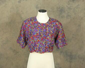 vintage 80s Blouse - 1980s Floral Silk Crop Top Sz S M
