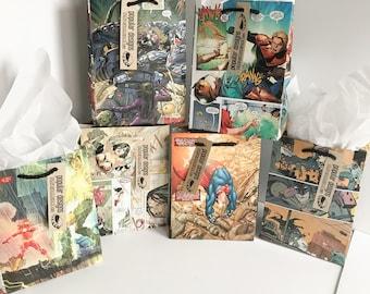 6 Justice League Comic gift bags / Recycled comic book/ handmade superhero gift bag / recycled comic gift bag