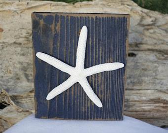Starfish Art Wooden Block Sign Hand Painted Navy Blue Distressed Reclaimed Upcycled Wood Coastal Beach Nautical Nursery Decor