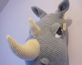 "Rhino Trophy Animal Head Crochet Amigurumi Faux Taxidermy Wall Hanging Home Decor ""WIGGINS"" Grey Textile Fiber Art Soft Sculpture Nursery"