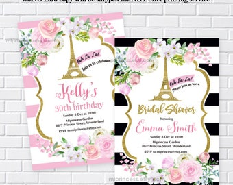 Paris Eiffel Tower, bridal shower, baby shower, ooh la la, Birthday Invitation, girl party, french party, paris party invite,  card 683