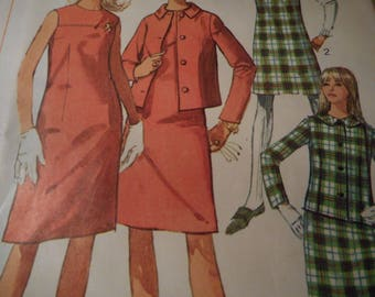 Vintage 1960's Simplicity 7236 Mod Jacket, Dress or Jumper Sewing Pattern Size 14 Bust 34