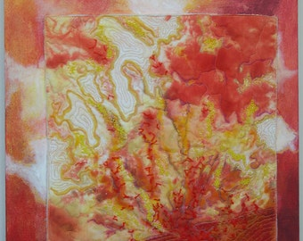 Abstract  Fiber Art Canvas mounted Art Quilt  Mixed Media Solar Flare