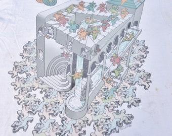 Thrashed 1993 Grateful Dead M.C. Escher Official Shirt Size XL Phish Stoner T-Shirt Hippie Jerry Garcia San Francisco Liquid Blue