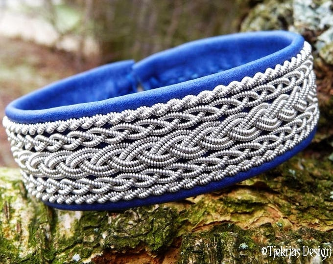 Viking Saami Bracelet Cuff, SKADI in Blue Reindeer Leather with Pewter Braids and Antler Closure - Handcrafted Norse Unisex Jewelry