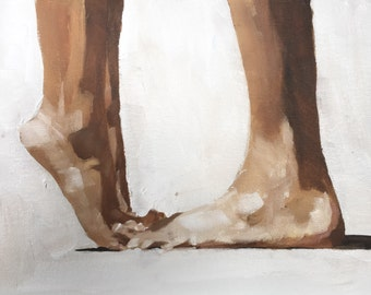 Lovers Kissing Painting Couple Art PRINT Feet Art Kissing Feet - Art Print - 8 x 10 inches - from original painting by J Coates