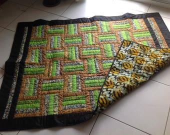 African Wax Print and Batik Quilt 'Animal and Seed'