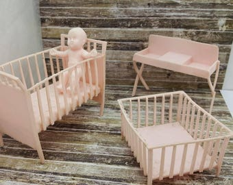 MPC Pink Nursery Baby items Doll House Toy Bathroom Soft Plastic