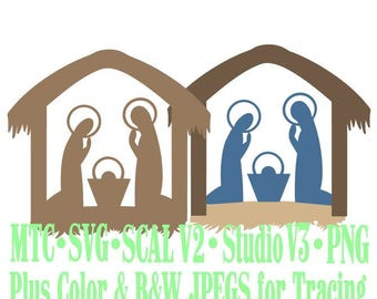 Christmas Nativity Scene #08 Cut Files MTC SvG SCAL Silhouette Format JPEGs PNG