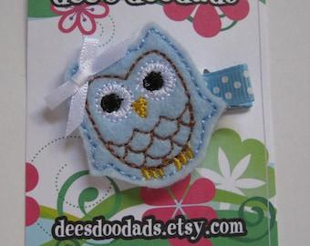 Light Blue Ollie the Owl Hair Clip
