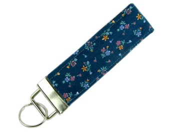 Personalized Key Chain / Key Fob Teal Floral With Optional Initials