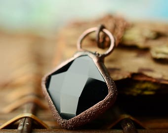 gothic black agate necklace, industrial jewelry, copper gemstone pendant, gift for women, witch jewelry, friend gift ideas