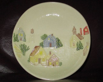 "Small Town USA Handmade Ceramic Ring - Candy - Trinket - Soap Dish   5""                                              315"