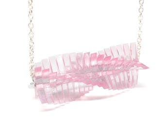 Small Pink Mathematica Necklace - Bold Laser Cut Hand Dyed Transparent Clear Acrylic Perspex Geometric Delicate Necklace on Silver Chain